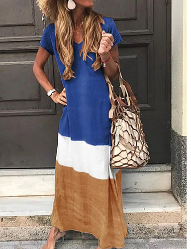 levne Maxi šaty-Dámské Tunika Šaty - Barevné bloky Maxi Do V