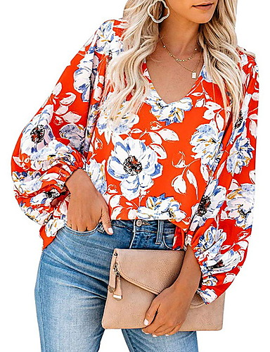 billige Skjorter til damer-V-hals Skjorte Dame - Blomstret, Trykt mønster Grunnleggende Grønn