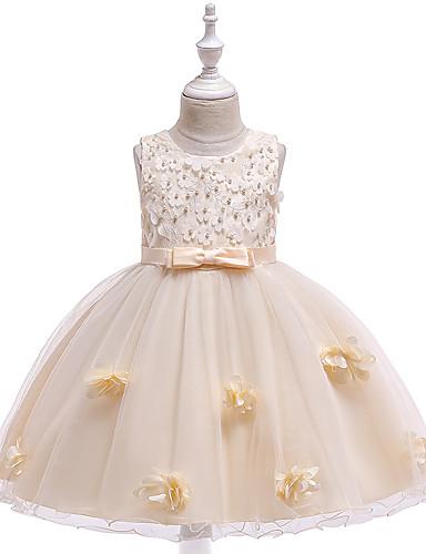 נסיכה באורך  הברך שמלה לנערת הפרחים  - סאטן / טול ללא שרוולים עם תכשיטים עם חרוזים / אפליקציות / פפיון(ים) על ידי LAN TING Express