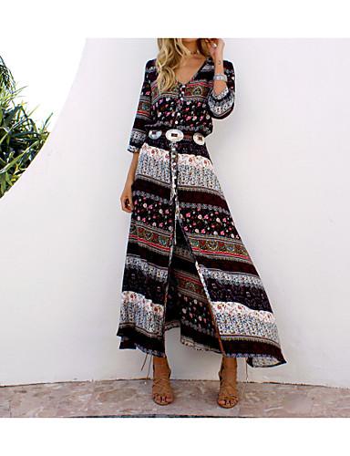 preiswerte Leicht zu tragende Shirt-Kleider-Damen Übergrössen Festtage Strand Boho Baumwolle Tunika Kleid - Gespleisst Druck, Tribal Maxi V-Ausschnitt