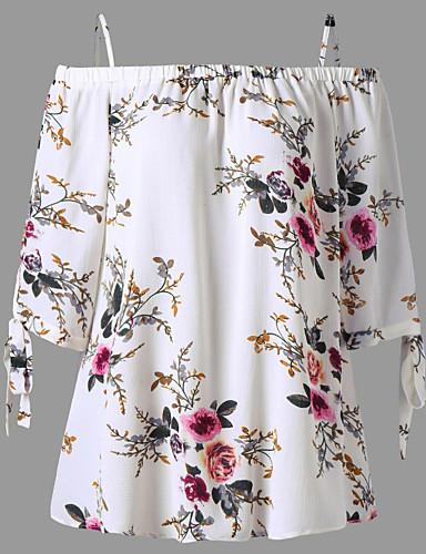 billige Dametopper-Bomull Løstsittende Løse skuldre Bluse Dame - Blomstret, Lapper Gatemote / Elegant Navyblå
