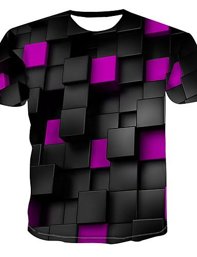 levne Pánské módní oblečení-Pánské - 3D Tričko, Tisk Kulatý Fialová