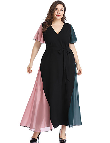 levne Šaty velkých velikostí-Dámské Šik ven Elegantní Shift Šaty - Barevné bloky, Volány Patchwork Maxi