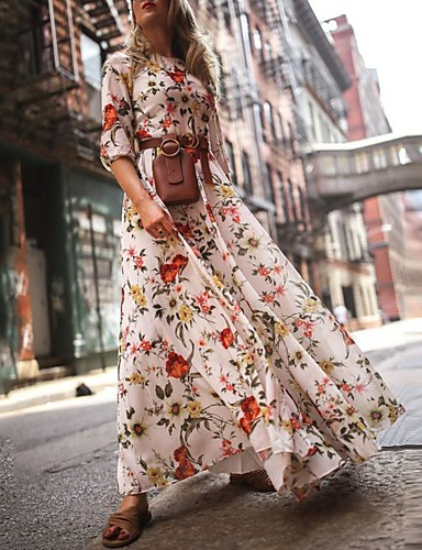 cheap Print Dresses-Women's Floral Long Maxi White Dress With Sleeve 2020 Ruffle Casual Spring Holiday Vacation Swing Flower Lantern Sleeve Flared Print S M