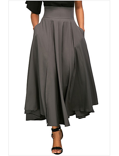 cheap Women's Skirts-Women's Maxi Swing Skirts - Solid Colored Black Gray Wine M L XL
