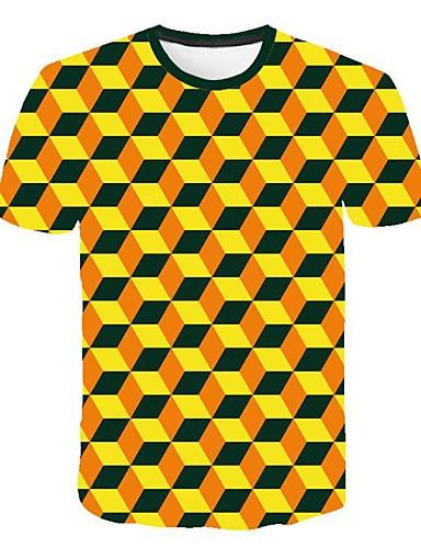 Rund hals Store størrelser T-skjorte Herre - 3D, Lapper Gul / Kortermet