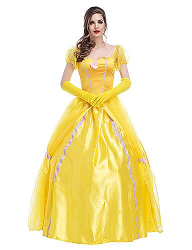 cheap Movie & TV Theme Costumes-Princess Fairytale Belle Dress Flower Girl Dress Women's Girls' Movie Cosplay A-Line Slip Princess Yellow Dress Gloves Halloween Carnival New Year Terylene