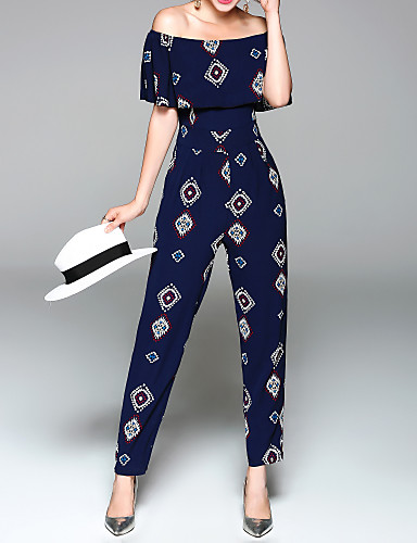 cheap Women's Tops-Women's Off Shoulder Ruffle Holiday / Weekend Blue Jumpsuit, Graphic Print M L XL High Rise Short Sleeve Spring Summer / Slim