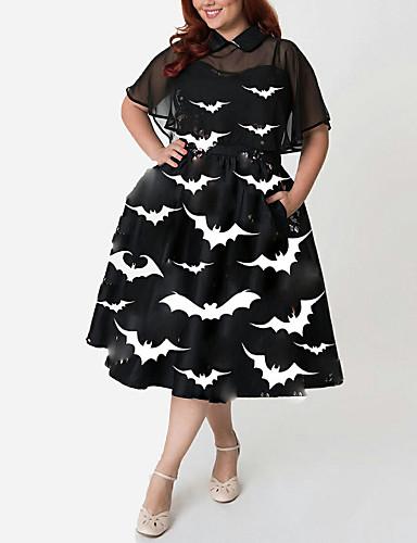 levne Šaty velkých velikostí-Dámské Sofistikované Elegantní A Line Little Black Šaty - Geometrický Zvíře, Nabírané šaty Rozparek Tisk Midi