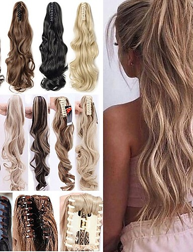 cheap 11.11 - Wigs & Hair Pieces Best Sale-Angelaicos Women Long Wavy Black Brown Blonde Natural Hairpiece Claw Clip on Hair Extension Ponytail