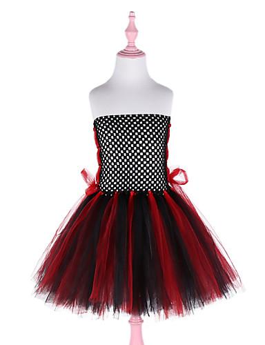 שמלה עד הברך ללא שרוולים גב חשוף / רשת / טלאים אחיד שחור פעיל / סגנון חמוד בנות ילדים / פעוטות