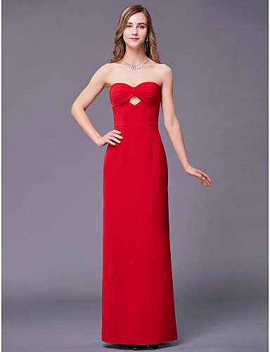 cheap Bridesmaid Dresses-Sheath / Column Sweetheart Neckline Floor Length Stretch Satin Bridesmaid Dress with Split Front
