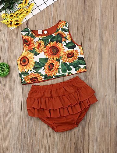 סט של בגדים כותנה קצר ללא שרוולים דפוס פרחוני פעיל / בסיסי בנות תִינוֹק / פעוטות