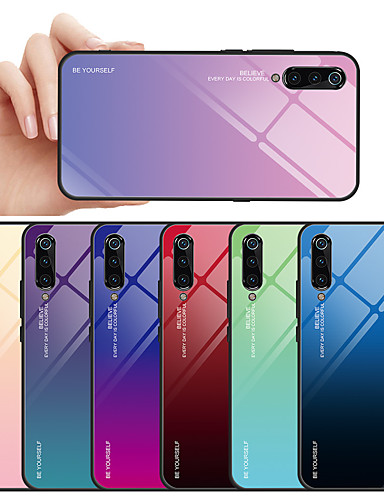 מגן עבור Xiaomi Xiaomi Mi 9 / Xiaomi Mi 9 SE עמיד לאבק / עמיד במים כיסוי אחורי צבע הדרגתי קשיח זכוכית משוריינת