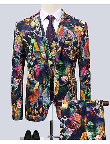 levne Pánské blejzry a saka-Pánské Větší velikosti Obleky, Geometrický Košilový límec Polyester Duhová / Štíhlý