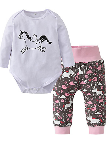 Baby Jente Fritid / Aktiv Trykt mønster Trykt mønster Langermet Normal Bomull Tøysett Hvit