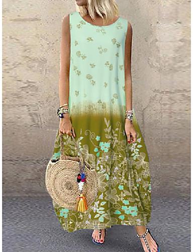 voordelige Maxi-jurken-Dames Boho Chiffon Jurk - Bloemen, Print Maxi
