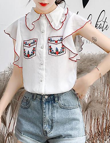 billige Bluser-Skjortekrage Bluse Dame - Blomstret, Broderi / Drapering Hvit