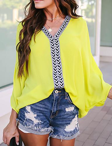 billige Dametopper-Løstsittende V-hals T-skjorte Dame - Fargeblokk, Lapper Grunnleggende / Elegant BLå & Hvit Gul