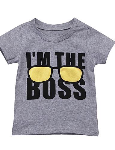 Baby Gutt Aktiv / Grunnleggende Trykt mønster Kortermet T-skjorte Grå