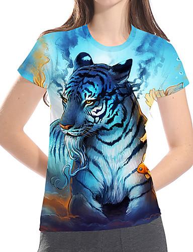 billige Dametopper-T-skjorte Dame - 3D / Dyr / Tegneserie, Trykt mønster Grunnleggende / overdrevet Tiger Lyseblå