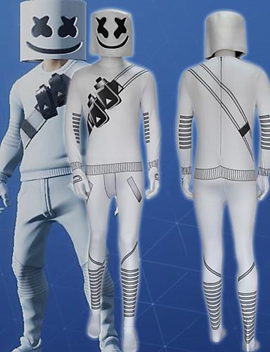 billige Zentai-Cosplay Kostumer Superhelter Spøkelse Barne Lycra® Cosplay-kostymer Fotløse Strømperbukser Halloween Hvit / Rød / Hvit 3D Halloween
