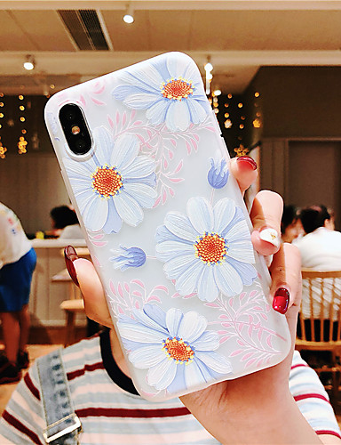 Capinha Para Apple iPhone XS / iPhone XR / iPhone XS Max Com Relevo / Estampada Capa traseira Flor TPU