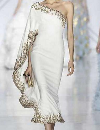 cheap Sexy Dresses-Women's Slim Sheath Dress - Solid Colored Off Shoulder White S M L XL