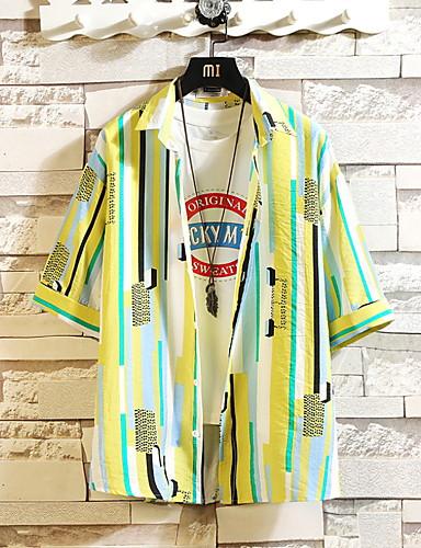 voordelige Heren T-shirts & tanktops-Heren Print T-shirt Geometrisch Overhemdkraag blauw / Korte mouw