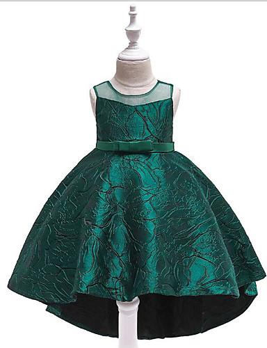 Prinsesse Svøpeslep Blomsterpikekjole - Polyester / bomullsblanding Ermeløs Besmykket med Ruchiing