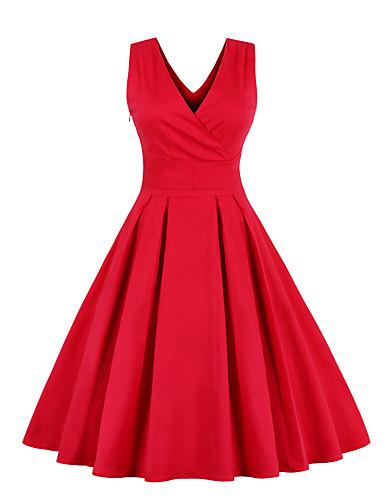 billige Kjoler til spesielle anledninger-Dame Chiffonkjoler Midikjole - Ermeløs Ensfarget Sløyfe Flettet 1950-tallet Vintage Rød Marineblå S M L XL XXL 3XL 4XL