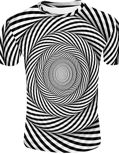levne Pánská tílka-Pánské - 3D Základní EU / US velikost Tričko, Tisk Kulatý Černá / Krátký rukáv