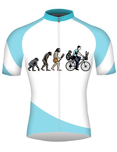 povoljno Odjeća za vožnju biciklom-21Grams Evolucija Muškarci Kratkih rukava Biciklistička majica - Blue / Bijela Bicikl Biciklistička majica Majice Prozračnost Quick dry Reflektirajuće trake Sportski 100% poliester Brdski biciklizam