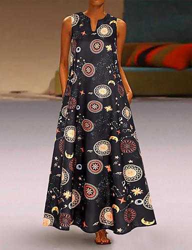 voordelige Maxi-jurken-Dames Vintage Chinoiserie Wijd uitlopend Jurk - Kleurenblok, Patchwork Maxi