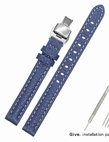 couro legítimo / Pele / Pêlo de Bezerro Pulseiras de Relógio Alça para Azul Outra / 17cm / 6,69 polegadas / 19cm / 7.48 Polegadas 1cm / 0.39 Polegadas