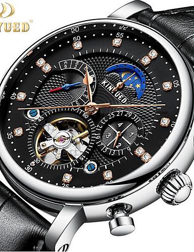KINYUED Ανδρικά Διάφανο Ρολόι μηχανικό ρολόι Swiss Μηχανικό κούρδισμα Γνήσιο δέρμα Μαύρο / Καφέ 30 m Ανθεκτικό στο Νερό Φάση Σελήνης Tourbillon Αναλογικό Πολυτέλεια Κλασσικό Καθημερινό Μοντέρνα -