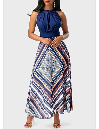 preiswerte Firmenfeier-A-Linie Schmuck Knöchel-Länge Stretch - Satin Cocktailparty Kleid mit Muster / Druck durch LAN TING Express