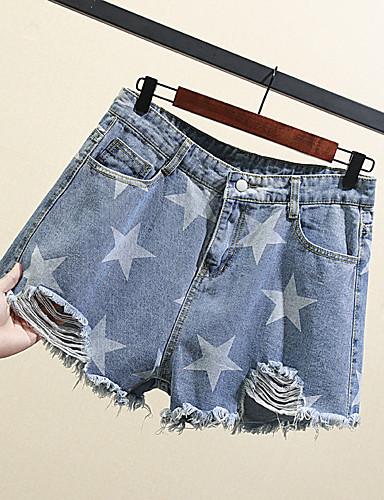 Dame Grunnleggende / Chinoiserie Store størrelser Shorts Bukser - Galakse Blå, Utskjæring Bomull Blå XXXL XXXXL XXXXXL