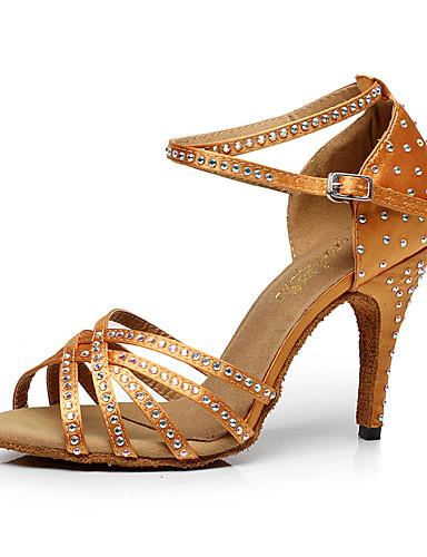 preiswerte Tanzschuhe-Damen Tanzschuhe Kunstleder Schuhe für den lateinamerikanischen Tanz Crystal / Strass Absätze Schlanke High Heel Maßfertigung Schwarz / Braun / Rot / Leistung / Leder / Praxis