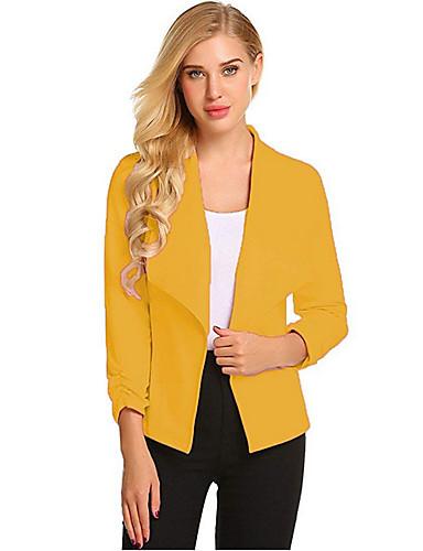 levne Dámské kabáty a trenčkoty-Dámské Denní Standardní Kabát, Jednobarevné Přehnutý Dlouhý rukáv Polyester Světlá růžová / Námořnická modř / Žlutá
