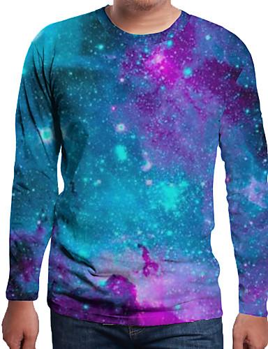 Ανδρικά Μέγεθος EU / US T-shirt Μονόχρωμο / Γαλαξίας / 3D Στρογγυλή Λαιμόκοψη Στάμπα Ουράνιο Τόξο / Μακρυμάνικο
