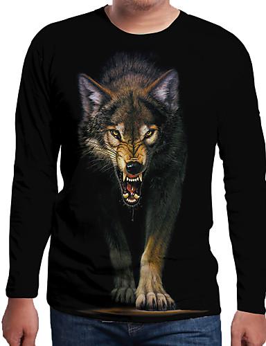 Ανδρικά Μέγεθος EU / US T-shirt Μονόχρωμο / 3D / Ζώο Στρογγυλή Λαιμόκοψη Στάμπα Μαύρο / Μακρυμάνικο
