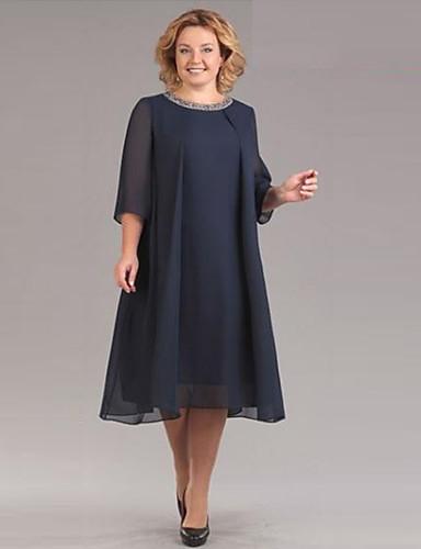 voordelige Grote maten jurken-Dames Verfijnd Elegant Chiffon Jurk - Effen, Pailletten Midi