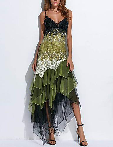 voordelige Maxi-jurken-Dames Elegant Kant Schede Jurk - Geometrisch, Print Bandje Asymmetrisch