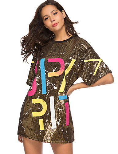 cheap Historical & Vintage Costumes-Diva Disco 1980s Dress Women's Sequins Costume Black / Golden / Blue Vintage Cosplay Prom Short Sleeve Above Knee A-Line