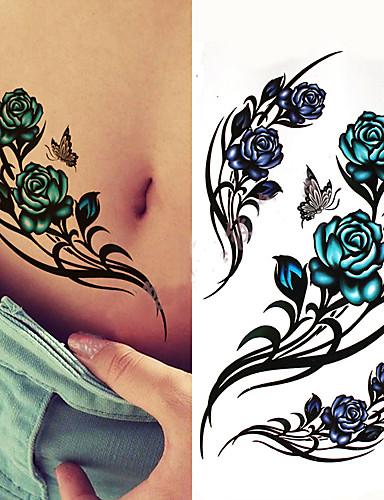 3 stk svart stor blomst kropps kunst vanntett midlertidig sexy lår tatoveringer rose for kvinne flash tatovering klistremerker