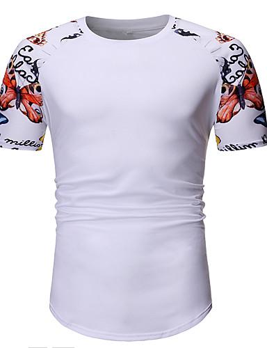 Ανδρικά Μέγεθος EU / US T-shirt Βασικό Ζώο Στρογγυλή Λαιμόκοψη Patchwork / Στάμπα Λευκό / Κοντομάνικο