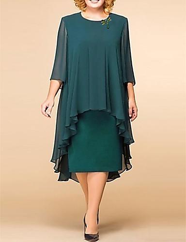 preiswerte Neu Eingetroffen-Damen Elegant Spitze Lose Etuikleid Kleid - Spitze Druck, Solide Blumen Midi