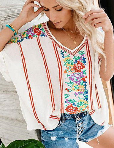 billige Dametopper-Oversized V-hals T-skjorte Dame - Blomstret, Trykt mønster Bohem / Elegant Hvit