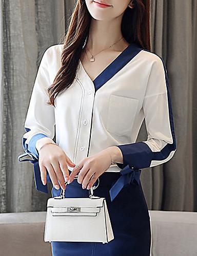 billige Dametopper-V-hals Skjorte Dame - Ensfarget Vintage Ferie BLå & Hvit Hvit